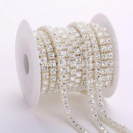 China 10yards 6mm crystal rhinestone pearl chain DIY garland wedding decoration pearls bead chain suppliers