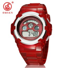 ohsen sports watches UK - OHSEN Boys Girls Children LED Fashion Watches Digital Multifunctional Military Sports Watches Red Jelly Silicone Wrist Watch