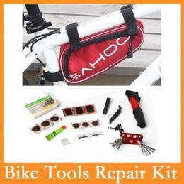 Venta al por mayor de Venta al por mayor de alta calidad sahoo original 15 en 1 Herramientas de reparación de ciclo de la bicicleta de la bici kit set con bomba de la bolsa rojo / azul / negro 3 colores Choice
