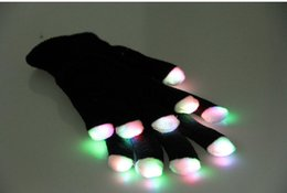 Glow Party Decorations Australia - Novelty LED Flashing Gloves Colorful Finger Light Glove Christmas Halloween Party Decorations glowing glove party rave prop wholesale