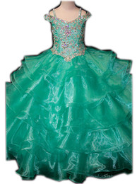 $enCountryForm.capitalKeyWord Canada - Off-the-shoulder Spaghetti strap Cute Baby Girls dress Tiered Organza Applique Crystal Beaded Sequin Celebrity Dresses Girl's Birthday Part