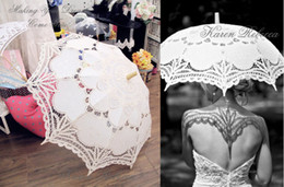 Wholesale white bridal lace fabric resale online - Vintage palace style white Parasol Umbrella for wedding party Bridal batten lace handmade high quality