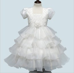 Short Formal Wedding Dress NZ - Children clothing summer 2017 new formal evening princess party beaded layered dresses sleeves wedding for girl kids 2 pieces
