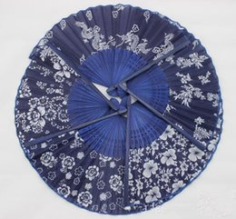 party frames 2019 - Classical flower design Chinese style blue fabric hand fan with dyed blue bamboo frame Wedding Party Favor cheap party f