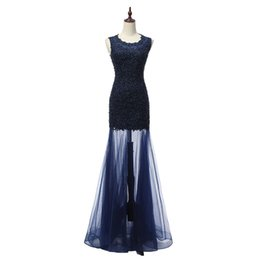 Chinese  2018 Long Prom Mermaid Dresses vestidos de Noiva Scoop Neck vestidos de Noiva Evening Gowns Fast Shipping manufacturers