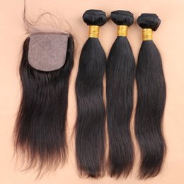 Wholesale 7A grade Silk Base Closure With Bundles x4 Silk Base Frontal With Bundles Straight Brazilian Virgin Hair With Closure