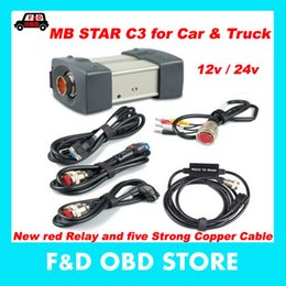 Special Cable Canada - Special price(12v 24v )MB STAR C3 no software All New red Relay and five Strong Copper Cable star c3 can Support cars and trucks