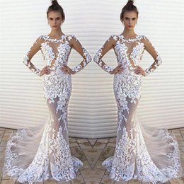 Barato Ver Através De Túnicas Brancas-Sexy White Lace See Through Beach Wedding Dresses 2017 New Fashion Illusion Bodice Long Sleeve Vestidos de casamento Mermaid Robe De Soirees