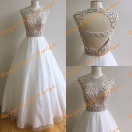Photos De Robe De Danse Pas Cher-2016 Major Beading Robes de bal avec sexy Retour et haut cou Real Photos Robe de bal blanc Ring Dance robes sur mesure