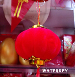 Chinese Pendant Lanterns Canada - Chinese Pendant lanterns Festival decorations Party supplies Chinese Lanterns Red Wedding parties Toy Flocking lantern