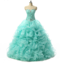 Chinese  New Cheap Mint Blue Quinceanera Dresses 2016 Ball Gown With Beaded Crystals Prom Sweet 16 Dress Stock Size 2-4- 6-8-10-12-14-16QC185 manufacturers