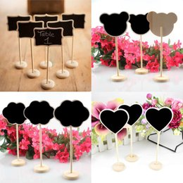 Blackboard Holder Canada - 24Pcs lot Mini Wood Chalkboard Blackboard Wooden Place Card Holder for Wedding Event Party Table Decor Supplies