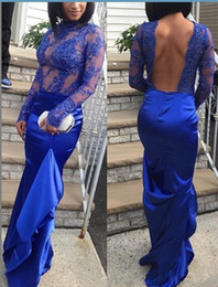 $enCountryForm.capitalKeyWord Canada - 2016 Royal Blue sheer Sexy Prom Dresses Sexy Backless Africa Vestidos de Festa Satin made in china Lace Long Formal Party Evening Gowns