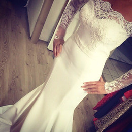 Wholesale married dress picture resale online - Hot Sale Boat Neck Mermaid Wedding Dresses Bride Married Lace Appliques Long Sleeves Sweep Train Elegant Wedding Gown Vestido De Noiva
