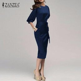 Plus Size S-5XL 2016 Women Spring Autumn OL Work Dress Half Sleeve Elegant  Bodycon Knee Length Pencil Party Dresses Vestidos 8f5fe701632d