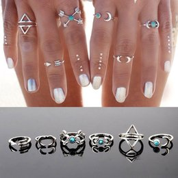 Cluster Rings For Womens Canada - 6pcs Set Fashion Moon Arrow Above Knuckle Midi Ring Sets Womens Boho Punk Fashion Jewelry for Girls Party