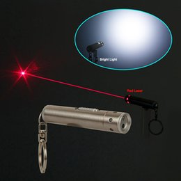 Wholesale 10pcs Mini Waterproof mw nm Hybrid LED Light Red Laser Pointer Red Lazer Pen Q5 Flashlight Visiable Beam Key Ring