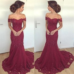 Barato Vestido Sem Alças Barato Da Sereia-2018 Sexy Burgundy Mermaid Prom Dresses Querida Backless Beads Crystals Pavimento Comprimento Lace Applique Formal Evening Party Wear Barato