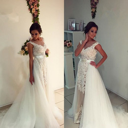 8b364e6aa72b Gorgeous Lace Tulle 2017 Wedding Dresses with Removable Train Sheath Sheer  Jewel Neck Cap Sleeve Illusion Appliques Long Bridal Gowns Custom