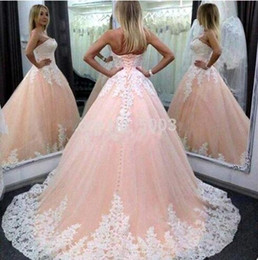 Wholesale Pink Puffy Ball Gown Long Quinceanera Robes Cheap Vestidos De Anos White Appliques Sweet Prom Party Dress For Girls