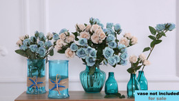 White Rose Arrangements UK - 4 Heads Fall Fake Flowers Spray Roses Wholesale for Blue Wedding Party Home Decor Flower Arrangement