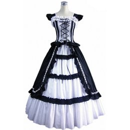 victorian short dress costume UK - new fashion short Sleeve Gothic Victorian Lolita Prom Dress Ball Gown Fancy Dress Halloween Party Costume S M L XL XXL
