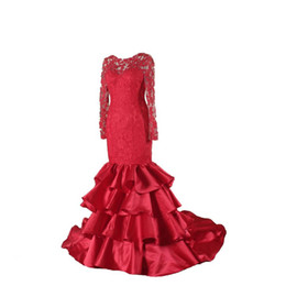$enCountryForm.capitalKeyWord UK - Fashion Style Red Mermaid Evening Dress Long Sleeve Backless Jewel Neck Lace Ruffles Satin 2019 Party Gowns Custom Made