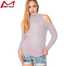 5e07e3d36d Wholesale- 1pc Women Sweater Off-Shoulder Solid Turtleneck Sweaters Slim  Sexy Tight Bottoming Knitted Pullovers Shirt Sueter Mujer YL037