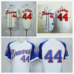 watch de995 55d36 norway atlanta braves 44 hank aaron 1974 white pullover ...