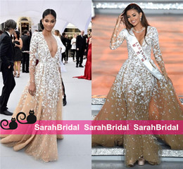 Barato Celebridade Sereia Vestido Laço-Miss World Lebanon Páginaant Evening Gowns Mermaid Deep V Neck Full Lace com manga comprida Tulle 2016 Zuhair Murad Celebrity Gowns Prom Dress