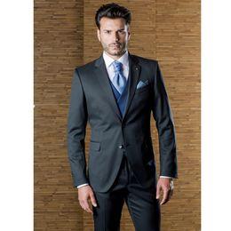 Purple Tuxedo Coat Canada - Black Wedding Mens Suits Slim Fit Bridegroom Tuxedos Men Groomsmen Suit Custom 2 sets (coat + pants) made to order