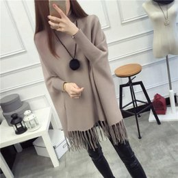 $enCountryForm.capitalKeyWord Canada - Poncho Pull Casual Tassel Pullovers Limited Women Sweater 2017 Collar Lady Jacket Long Shawl Bat Shirt Top Spring   Autumn Knit