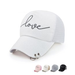ladies peaked caps 2021 - Love Letter Logo Women Snapback Adjustable 5 Panel Baseball Cap with Hanging Hoop Fashion Ladies Mesh Peaked Cap Gorras