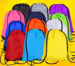 Clothes Bundles Canada - Simple Solid Color Polyester Waterproof Bags Drawstring Shoulders Beam Bags Sports Backpack Swimming Bags Bundle Storage Backpack