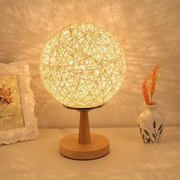 bedroom bedside lamp fashion table lamp brief modern decoration table lamp small night light rustic twiner sepak takraw table - Rustic Table Lamps