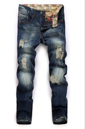 Barato Alongamento Do Buraco Magro-Vendas Men Skinny Distressed Vintage Pants Top populares Hole Ripped Stretch Denim Jeans Casual Hiphop Biker Trousers Mix tamanho da ordem