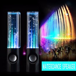 Portable Computer Speakers Canada - LED Usb Dancing Water Speakers Portable Mini Colorful Music Fountain Player For iPhone ipad PC MP3 MP4 Computer Subwoofer Water-column Audio