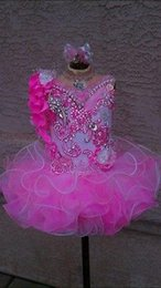 Barato Vestidos De Festa De Natal Infantil Vestidos-Hot Pink Short Infant Cupcakes Beads Luxury Little Girls Pageant Vestidos Princess Toddler Baby Princess Christmas Ano Novo Vestidos de festa de crianças