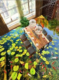 Pond Wall Stickers Australia - 3d pvc flooring custom photo wallpaper wall sticker Duckweed pond limpid water decoration painting picture 3d wall room murals wallpaper