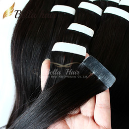 glue hair extensions color 2019 - PU tape in hair extensions Glue Skin Weft Brazilian Human hair Natural Color Bellahair 100g set,40pcs set,2.5g piece 8A