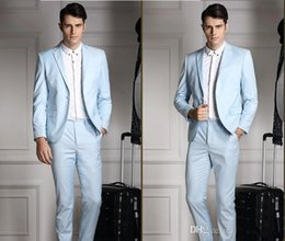 wedding dresses blue trim UK - Sunshine Handsome Side Vent Light Blue Groom Tuxedos Men's Wedding Dress Party Tuxedos Prom Suits(Jacket+pants+tie+Vest)