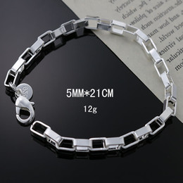 925 silver bracelet 5mm NZ - High Quality Pretty 5mm 925 Sterling Silver Fashion Wedding Women Lady Cuff Charms Box Chain Bracelet Jewelry Freeshipping