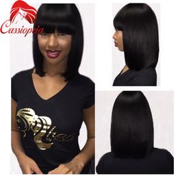 $enCountryForm.capitalKeyWord Canada - Brazilian 8A Grade Bob Wig With Bangs Full Lace Lace Front Short Silky Straight Bob Wig Virgin Human Hair Wig 130%Density Natural Black