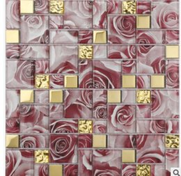 puzzle rose Canada - Rose Red Mosaic Chinese modern puzzle living room TV background wall bathroom bedroom bar decoration