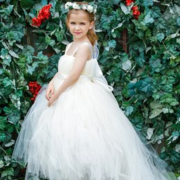Barato Venda De Faixa-Flower Girls Dress For Wedding Vestidos de baile Tulle Spaghetti sem mangas Free Shipping Bow Sash Flower Girl Vestidos para as vendas