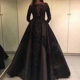 Modest spring fashion online shopping - 2019 Modest Zuhair Murad Formal Evening Celebrity Dresses Detachable Train Black Lace Long Sleeve Arabic Dubai Fashion Prom Party Gowns