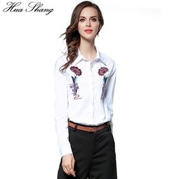 $enCountryForm.capitalKeyWord Canada - Hua Shang Cotton Embroidery Shirt Women Long Sleeve Autumn White Blouse Lady OL Style Business Work Office Shirt Women Clothing