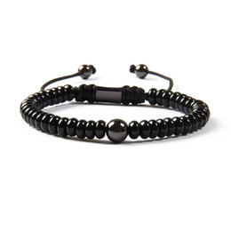 China Wholesale Black Jewelry New Arrival Natural Flat Black Onyx Stone With 8mm Brass Beads Macrame Bracelet For Men supplier jewelry bracelet black onyx suppliers