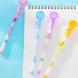 Novelty Plastic Glasses Wholesale Australia - 20pcs lot Novelty Cartoon Magnifying Glass Shape Ballpoint Pens Cute Pens for Writing Stationery Accessories Office Pen Material Escolar