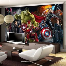 Avengers Photo papier peint Personnalisé 3D papier peint pour murs Hulk Iron man Captain America Papiers peints Garçons Chambre Salon Restaurant Designer en Solde